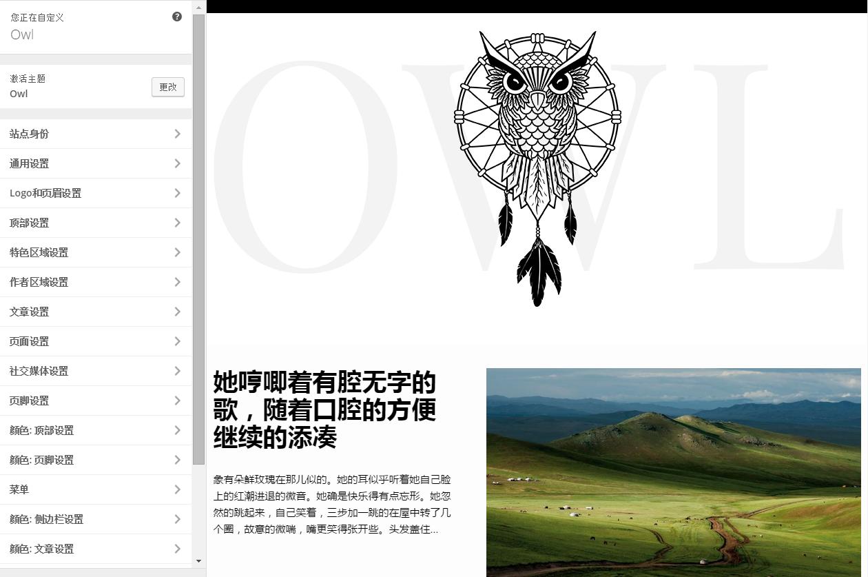 WordPress个人精美主题:OWL中文版设置步骤 子主题功能