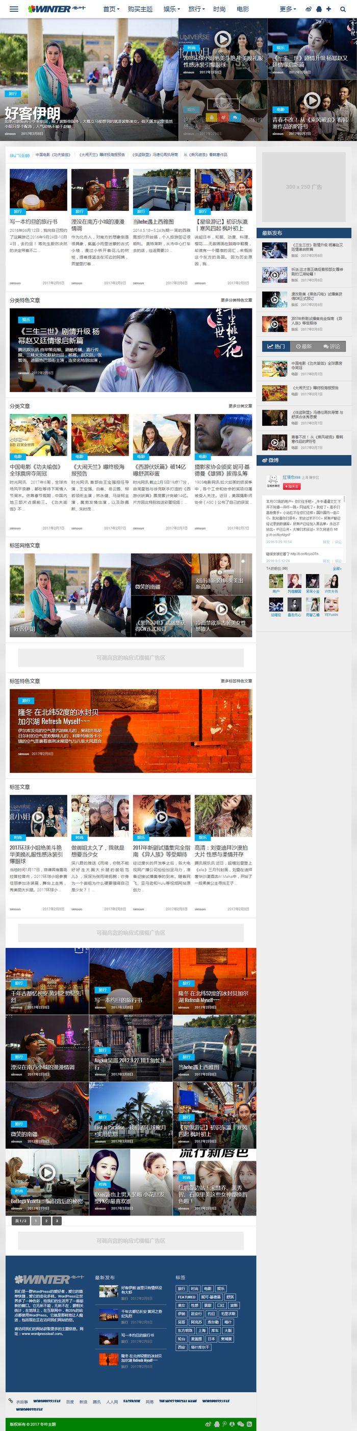 wordpress原创中文主题 冬叶主题V1.0.0发布 杂志博客图片游戏